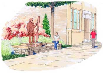 An artist's rendering of the Ben Epps statue a group plans to erect outside Athens City Hall. Epps was the first Georgian to fly.