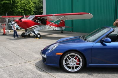 It looks like this Porsche Carrera S would fit nicely under the wing of this CubCrafters SportCub.