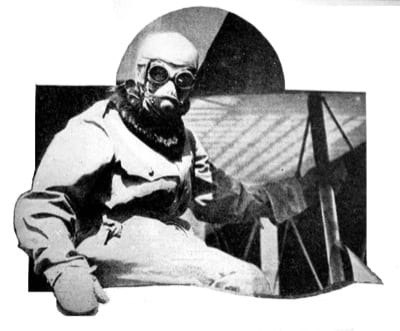 Roland Rohlfs looking like a cocoon in his specially designed suit for high altitude work. This photo was taken July 30, 1919, when he broke the U.S. record. Photo from the American Legion Weekly, Aug. 29, 1919.