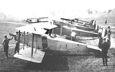 Six Standard JR-1M mail planes accepted in August 1918 by the Post Office was the first commercial aircraft purchase by the U.S. government. Note the mailbag and Post Office Number 1 painted on the side of the first aircraft.