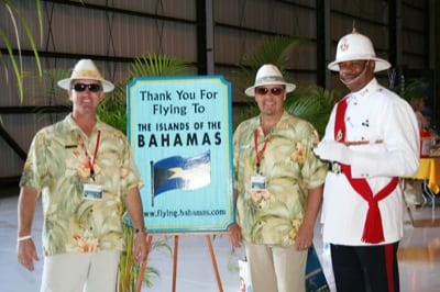 Bruce Woodrell, Banyan's customer support ambassador, Bill Garghill, Banyan's director of customer support, and Bahamian Policeman Lafayette Dorsett welcomed attendees to the first Bahamas Day.