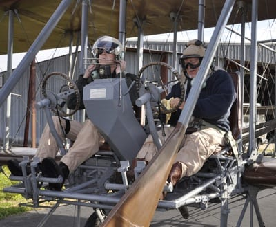"""Rich Stepler (in right seat) and Don Stroud prepare to test fly Wright """"B"""" Flyer No. 001 on Stinson Airport in San Antonio in preparation for today's Military Flight Centennial."""