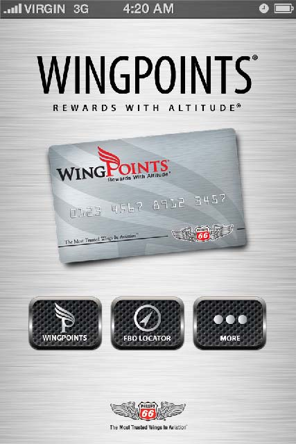WingPoints App - home screen 2