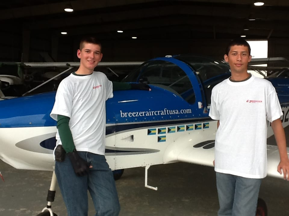 Students take to the skies to thank their benefactor
