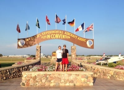 Kate with her cousin Nate Sova under the Brown Arch on the AirVenture grounds. This was Nate's first time at AirVenture, Kate's 12th.
