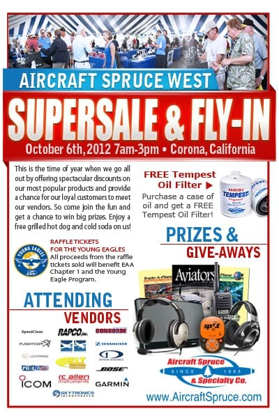 Ad: Aircraft Spruce Supersale & Fly-In