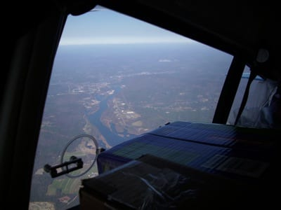 Vital supplies bound for storm-damaged parts of New York and New Jersey fly high above the Connecticut River as general aviation pilots from New Hampshire recently helped in the relief efforts for the victims of Hurricane Sandy.