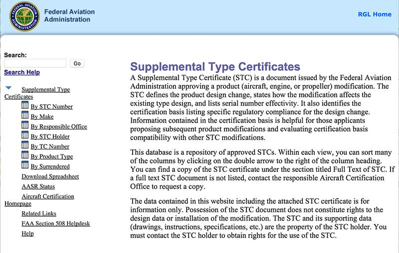 FAA STC website