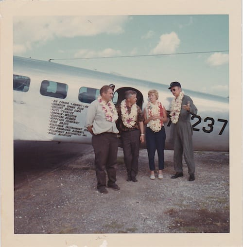 Left to right: Lee Koepke;   Bill Polhemus, Navigator;    Ann Pellegreno, Pilot; Bill Payne, Co-Pilot