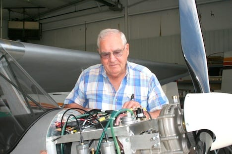 Lowell uses his extensive building experience to wire this first AeroMax production model.
