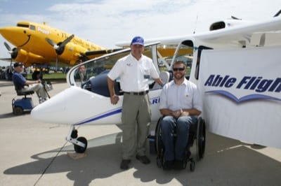 Instructor Mike Hansen and Able Flight pilot Warren Cleary with the Sky Arrow