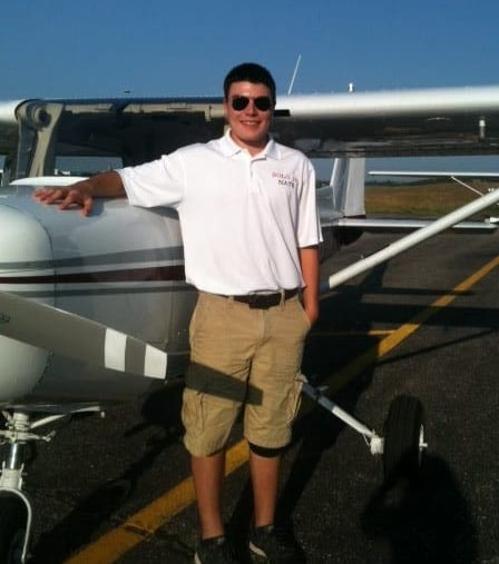 Nate Bruss after the first of ten aircraft soloed on his 16th birthday.