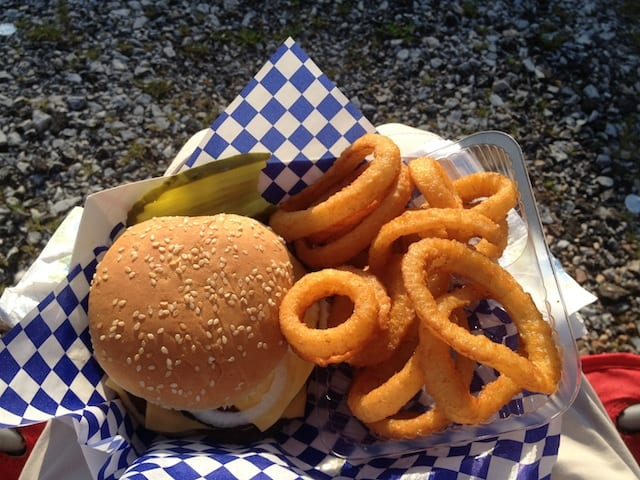 The Mayor Burger with a side of onion rings