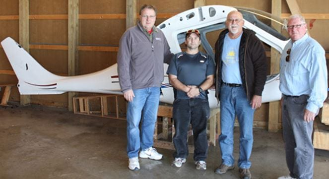 Ronald Donner, AMTSociety Executive Director and Chief Editor for Aircraft Maintenance Technology (AMT) magazine; Tom Hudacek, WITC Composite Student; Tim Wright, WITC Composite Technology Instructor; Charlie Glazman, WITC Associate Dean of Continuing Education