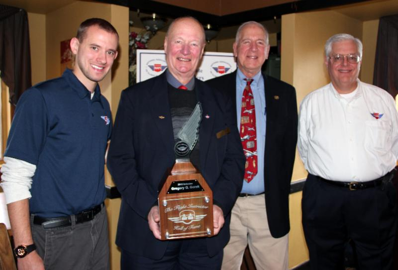 NAFI Program Coordinator John Niehaus, Honoree Greg Gorak, Sporty's Founder Hal Shevers and NAFI Chairman Bob Meder were all smiles at the Hall of Fame induction ceremony in Milwaukee.