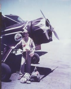 Credit: Historical Society of Palm Beach County,Florida Caption: WWII CAP Coastal Patrol pilot ready and equipped for over-water anti-sub patrol, including a bomb load.