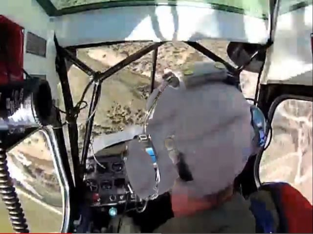 master aerobatic instructor Rich Stowell in a loss of control situation (looking UP at the ground)