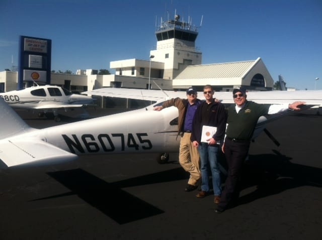 Shown are Leonard (Len) Assante, Mitchell West and Gerald (Gere) Gaige,  GMU's AOPA Airport Support Network Volunteer on Monday when Aviation Access brought its first plane to GMU.