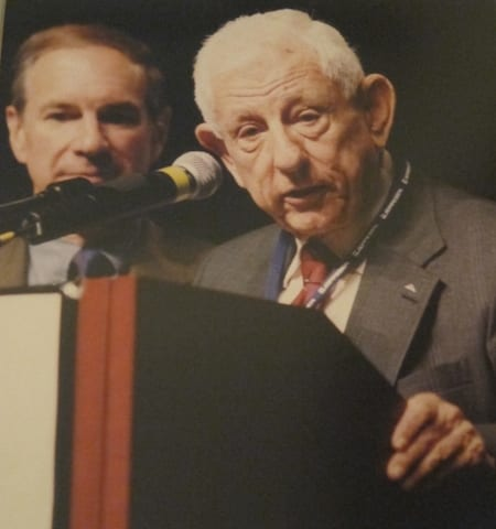 Jack accepting the AOPA award, with then-president Phil Boyer in the background