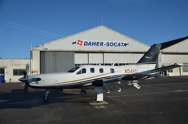 This TBM 850 – serial number 684 – was the last aircraft assembled during DAHER-SOCATA's 2013 production activity. It is shown prior to departing the Tarbes, France factory.