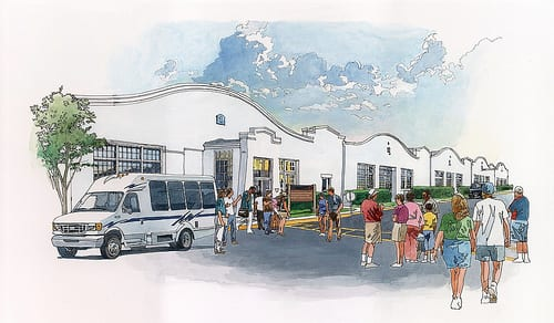 This is a conceptual illustration of how the Wright Company factory might look when restored as a National Park unit. Image: National Aviation Heritage Area (NAHA)