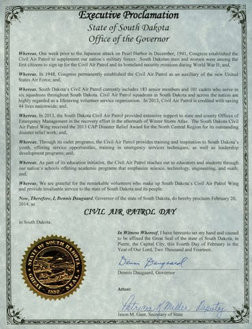SD Governor proclaims 'Civil Air Patrol Day'