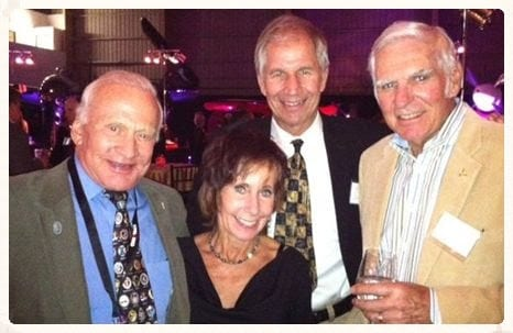 Astronaut Buzz Aldrin, Captain Judy Rice, Voyager Pilot Dick Rutan, and Wings Over the Rockies Air & Space Museum President Greg Anderson