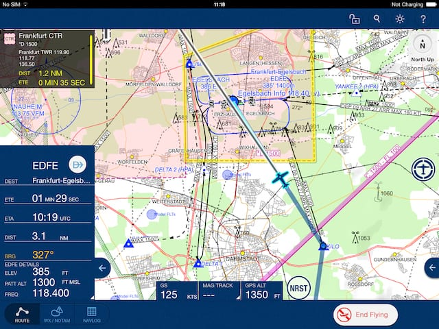 Jeppesen Mobile FliteDeck VFR image - Flying Mode