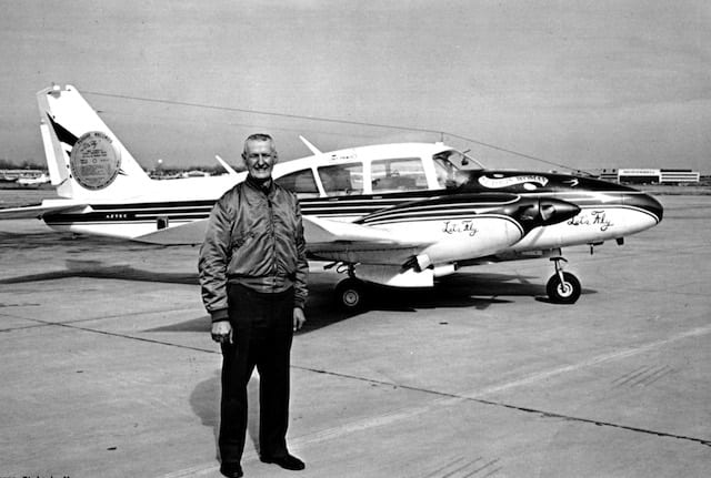 Conrad with his Piper Aztec prior to takeoff from Winona, Minnesota on November 30, 1969 on his historic 34,000 mile Round-the-World, over both poles flight.