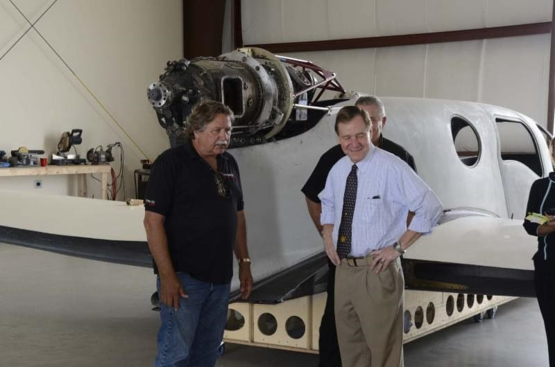 Ron Lueck, CEO of Comp Air Aviation, shows Mayor Jim Tulley the Privateer.