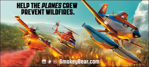 Characters from Disney's 'Planes' team with Smokey Bear