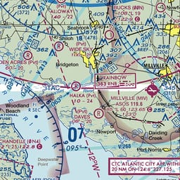 """Delaware is in the lower left corner of this chart segment. Port Norris, NJ, is in the lower right corner just above the """"Contact Atlantic City Approach"""" box. That advice proved misleading!"""