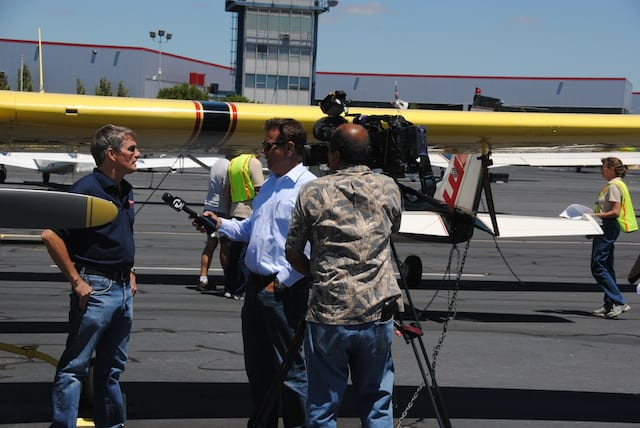 Being Interviewed by TV news