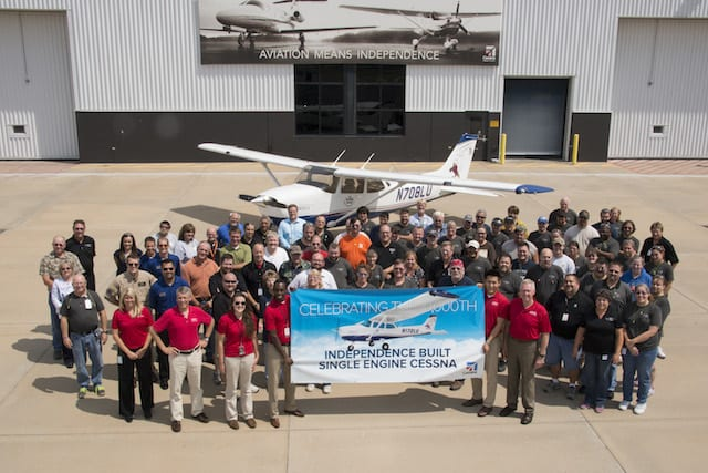 The Textron Aviation Independence team celebrates the delivery of the 10,000th Independence-built single engine Cessna aircraft.