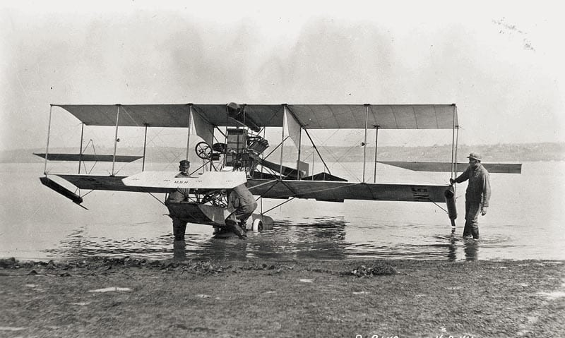 The Curtiss Hydroaeroplane, which was named the Triad because it could operate in three dimensions — sea, air, and land. (US Navy photo)