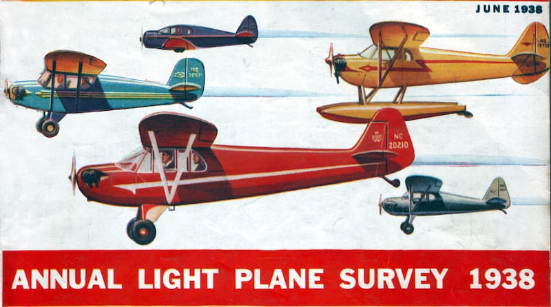 In the winter of 1940 over 600 light planes flew from around the United States to Florida. This image from the June 1938 cover of Air Trails shows the variety of new aircraft being offered for sale. (Source: Air Trails June 1938)