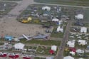 An early morning aerial view of the plaza at AirVenture in Oshkosh. The show is the largest GA gathering in the world.