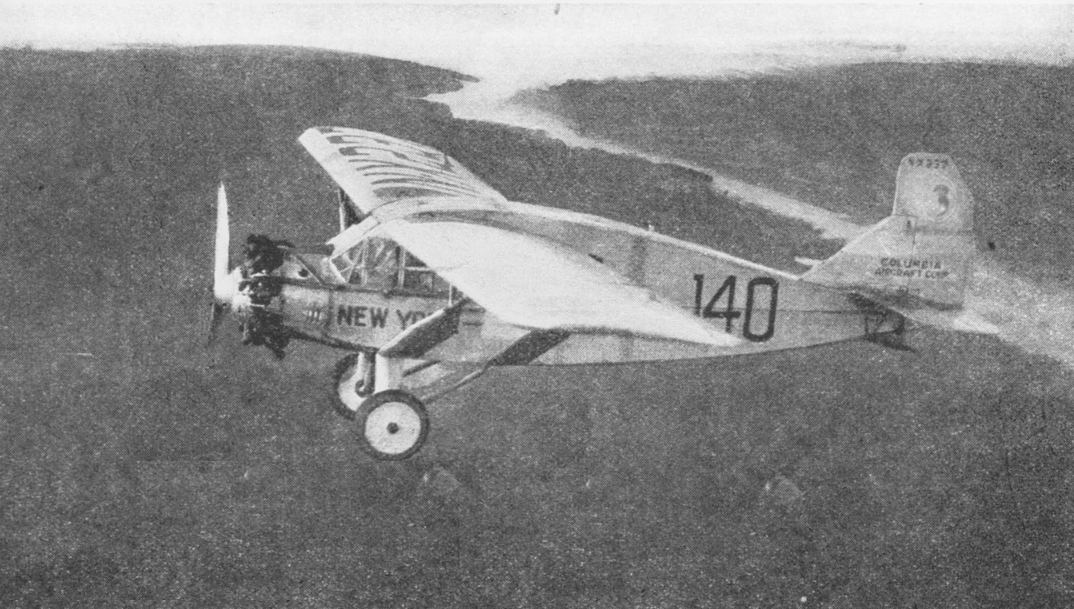 Bellanca: The Bellanca Columbia of Chamberlin and Levine seen soon after departure from Roosevelt Field on Long Island. Source: Dennis Parks
