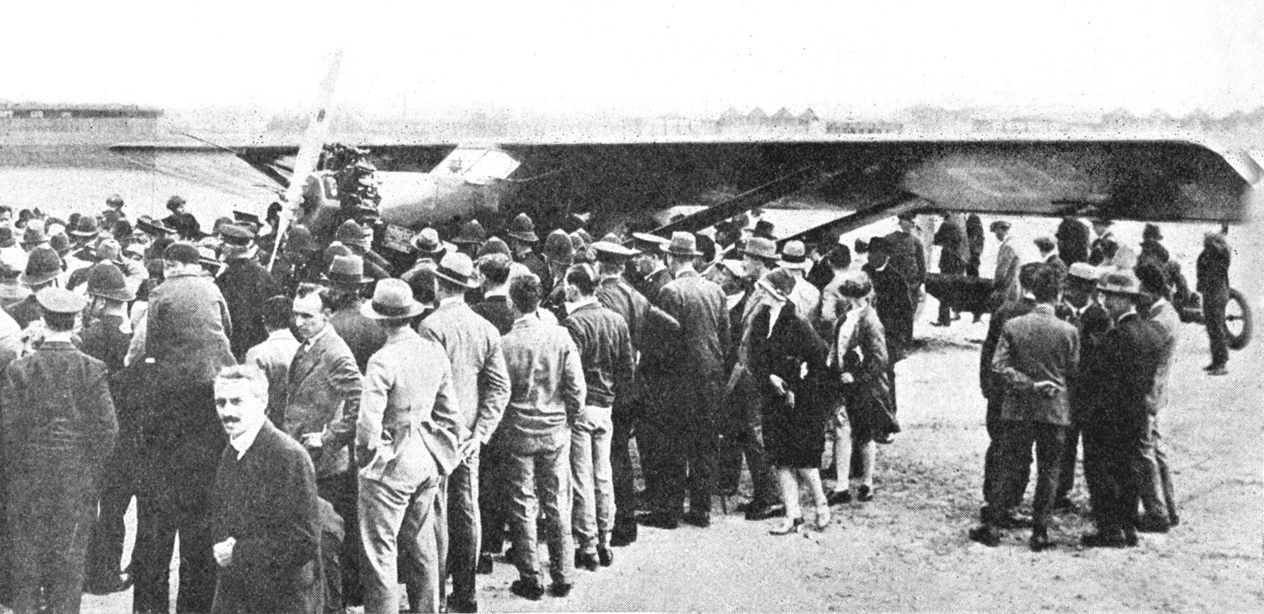 Brock and Schlee's Stinson drew a large crowd upon arrival in Europe at the Croydon Airport outside of London. Source: Dennis Parks