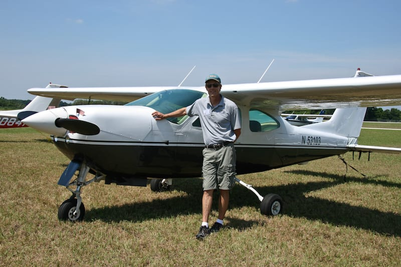 "Texas pilot Frank Carleton bought this 1978 Cardinal RG at the fly-in. He won the award for the ""Newest Cardinal owner."""