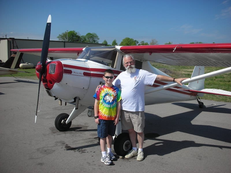 Jack Hoke and his grandson Brennan Maxwell with the Luscombe.