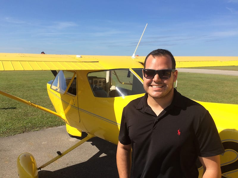 Mike Zamora in front of AOPA's Reimagined C-152.
