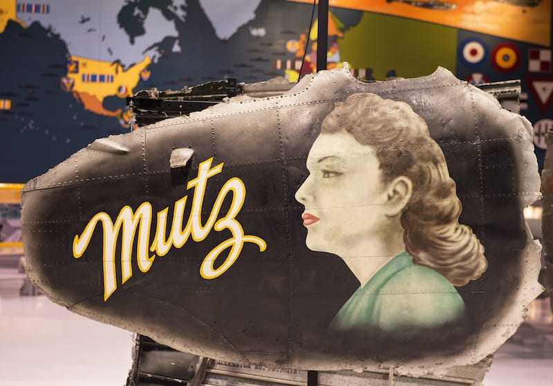 """The nose art titled """"Mutz,"""" the nickname of the girlfriend of the airplane's pilot, is taken from a World War II B-17 bomber. (EAA photo/Jason Toney)."""