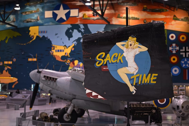 """""""Sack Time"""" nose art that is part of the Commemorative Air Force colelction currently on display at the EAA AirVenture Museum. (EAA photo/Brady Lane)"""