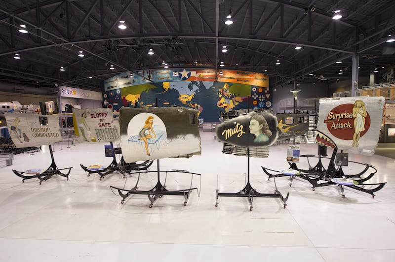 A sample of the Commemorative Air Force nose art exhibit on display at the EAA AirVenture Museum in Oshkosh through 2016. (EAA photo/Jason Toney)