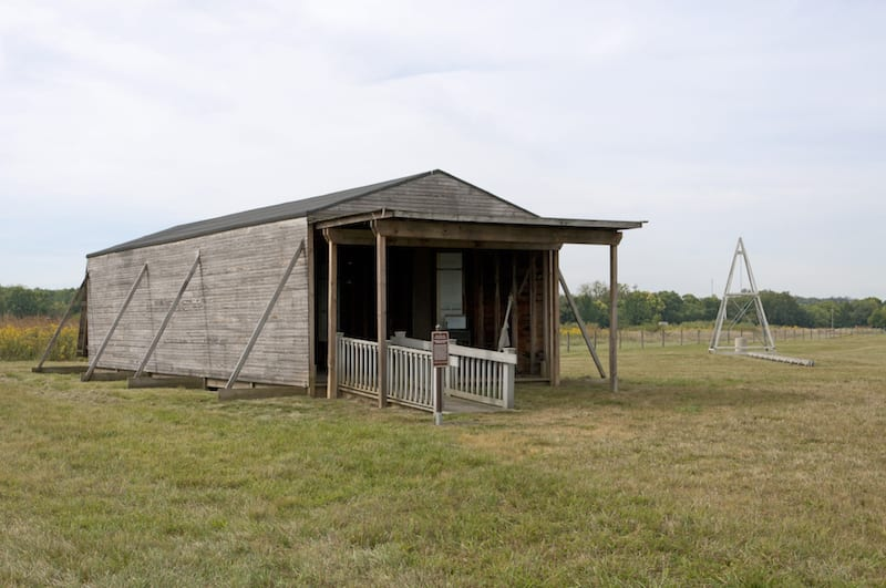 Replica 1904-05 hangar and launch catapult on Huffman Prairie Flying Field.