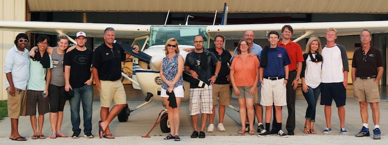 Some of the members of Jamie's flying club.