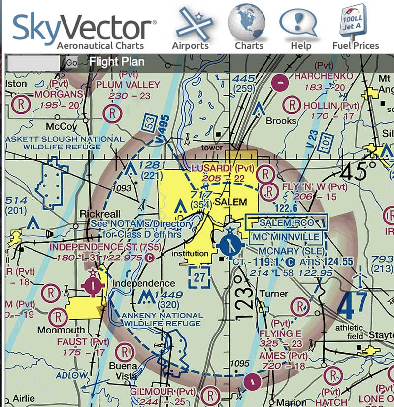 KSLE airspace as of March 15, 2016. Image courtesy SkyVector.com.
