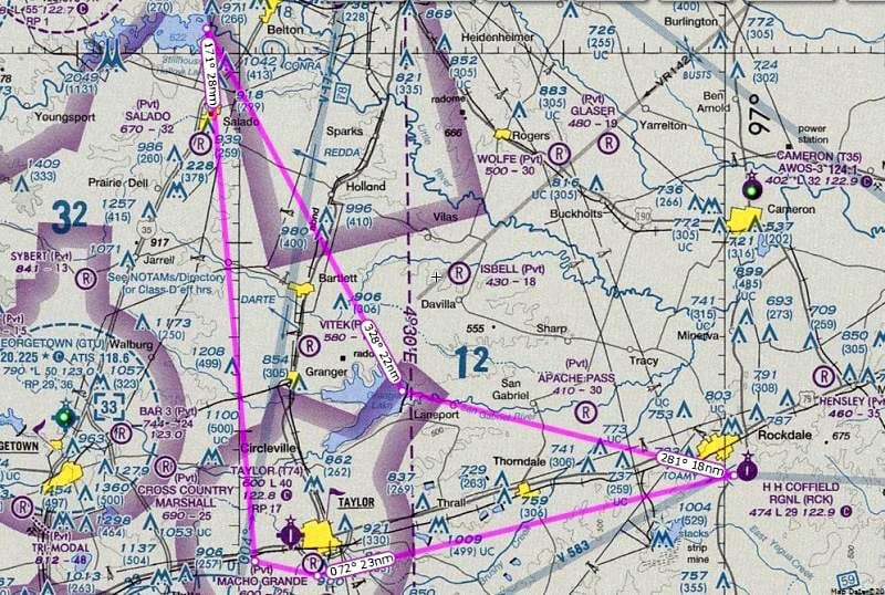 The Bob Axsom Memorial Air Race short course, laid out over a sectional chart.