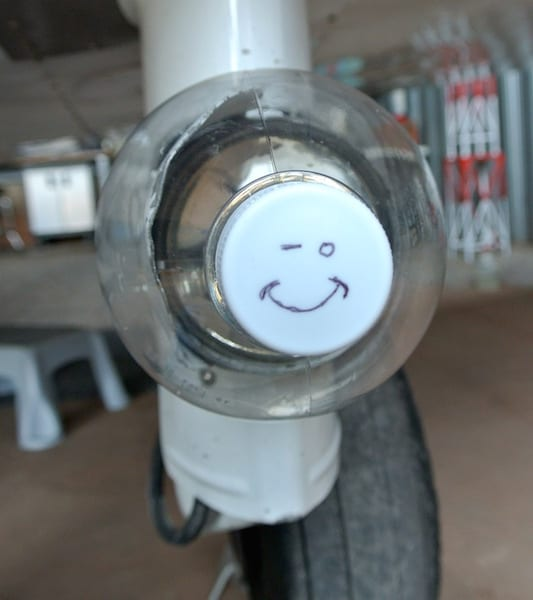 The cap of the landing light cover with a winking smiley face, showing that I recognize it looks silly. But hey, I increased my speed.